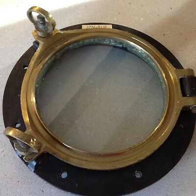 Antique Brass Ship's Porthole with metal flange plate