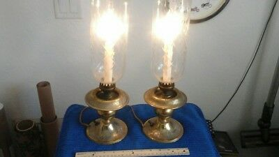 "(2) Vintage Antique 1800's Brass Glass Lamps electric conversion 16.25"" T4.75""B"