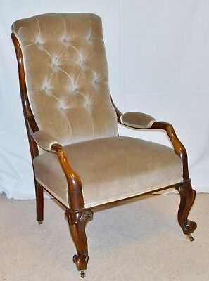Victorian Mahogany Nursing  - Bedroom - Boudoir Chair with Arms