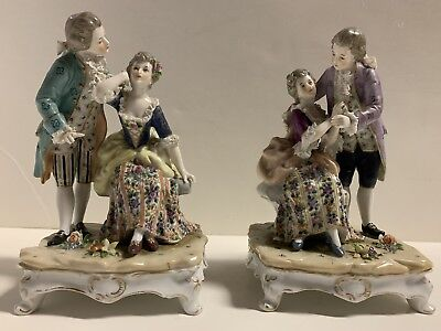 Pair of ANTIQUE GERMAN DRESDEN ERNST BOHNE VICTORIAN COUPLE