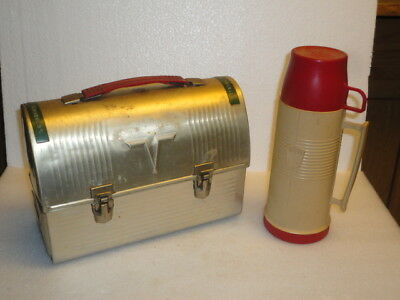 "Vintage Thermos ""V""  Dome Metal Lunch Box W/Thermos In Good condition"