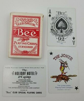 Holiday Hotel and Casino Reno Playing Cards No. 92 BEE Club Special Played
