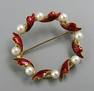 Vintage Jewelry Red Heart Pearl Ring BROOCH PIN Rhinestone Lot A