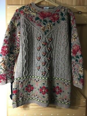 LAURA ASHLEY 100% Wool Dress. Fawn Floral Vintage Rare Size M