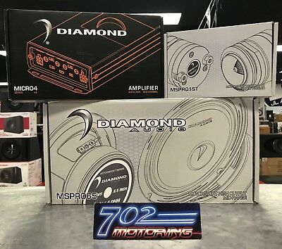 "Diamond Mspro65 6.5"" 400W Midrange Speakers + Mspro1St Tweeters + Micro4V2 Amp"