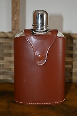 English 16 Oz. Flask / Decanter With Leather Case & Shot Glass Made In England