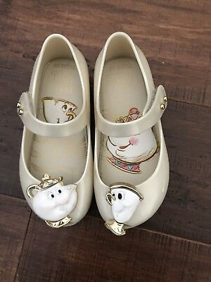 8161406928ac MINI MELISSA SIZE 11 Beauty And The Beast Shoes Rose Gold Mrs Potts ...