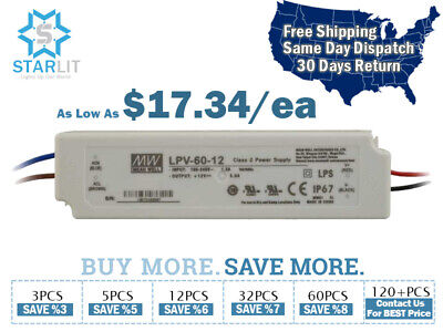 Mean Well LPV-60-12 Power Supply / LED Driver 90-264 VAC Input 60W 5A 12V Output