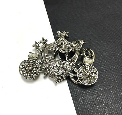 Whimsical Vintage Antique 1928 PEARL & Marcasite CINDERLLA Carriage Brooch ii65e