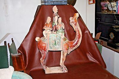 "RARE Antique 32"" Sancai Glazed Pottery Mongolian Camel w/ Band of 5 Musicians"