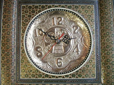 Old Vintage Micro Mosaic Brass Face Square Wall Clock Moghul or Egyptian Quartz