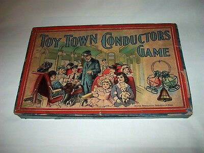 Antik Spiel ,Toy Town Conductors Game ,1910 Milton Bradley USA Railroad Schafner