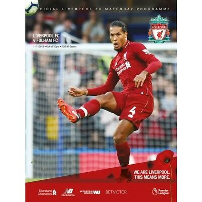 liverpool v fulham official match programme 2018/19 brand new mint condition