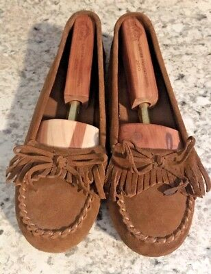 MINNETONKA  Womens Brown Indian Tassels Leather Moccasins Slip On Loafers 8.5