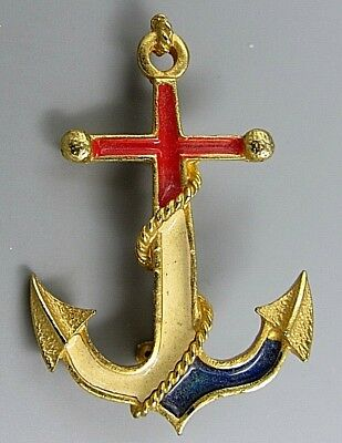 Vintage Jewelry Nautical Red White Blue Anchor BROOCH PIN Rhinestone Lot A
