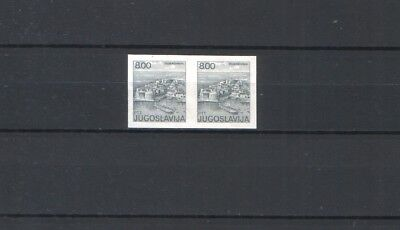Yugoslavia, tourism imperforated stamp in pair