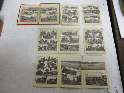 RARE 1891 Album booklet lithographs of businesses in Clinton & Lyons Iowa L@@K