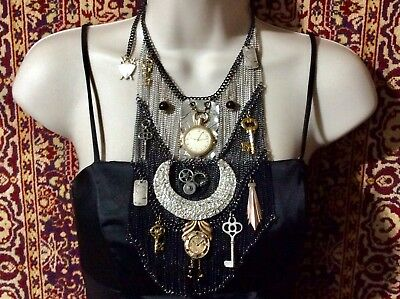 "STREAMPUNK Necklace The "" COSMIC TIME TRAVELER "" Awesome Art Piece Renaissance"
