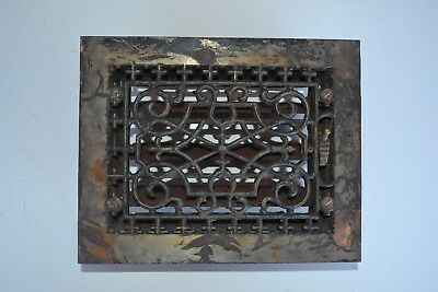 Antique Cast Iron Heat Grate Floor Vent Registers Louvers Ornate 6 x 8
