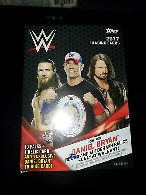 WWE Topps 2017 Trading Cards Blaster Box 10 packs & 1 Relic card per box.