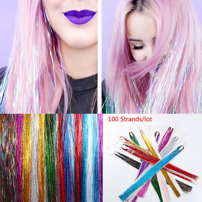 Clubbing Sparkle Bling Silk Hair Extension Hair Tinsel  Glitter Rainbow  Color