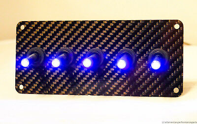 AUTHENTIC CARBON FIBER PANEL w/ LED toggle switches - Purple