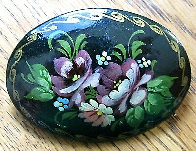 Vintage Jewelry Hand Painted Russia Flower Disc BROOCH PIN Rhinestone Lot B