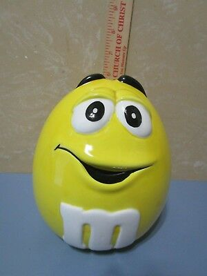 M&M Candy Dish Cookie Jar Yellow NEW