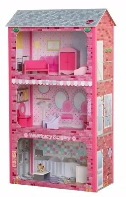 Childrens NEW Large Wooden Dolls House Dollhouse 3 Storey Accessories