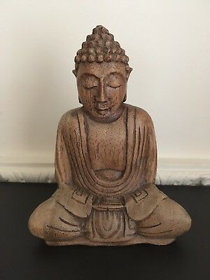 Asian Carved Wood Figure Of A Buddha - H16.5cm