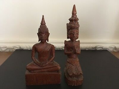 Two Small Thai Carved Wood Figures Of A Buddha