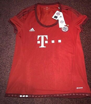 Brand New With Tag Ladies Womens Bayern Munich Home Shirt - Adidas Size XL - Red