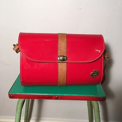 Vintage 1980s Red Patent and Tan Brown Leather Barrel Bag - Made In USA
