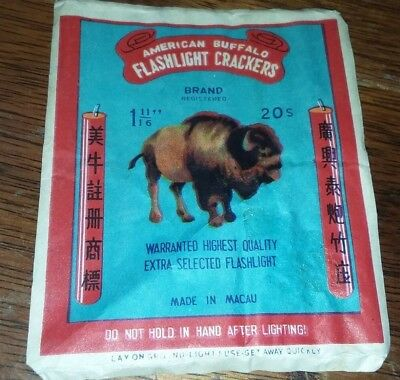 Vtg AMERICAN BUFFALO BRAND FIRECRACKERS 20s LABEL ONLY