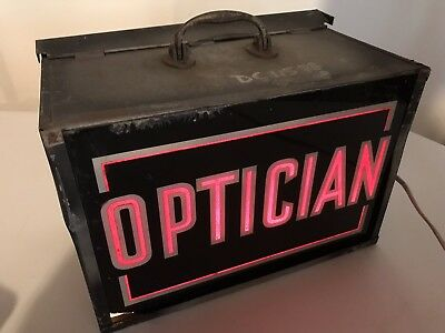"Vintage OPTICIAN Painted Glass Business Lighted Sign Light 15x11x9"" Eyeglasses"