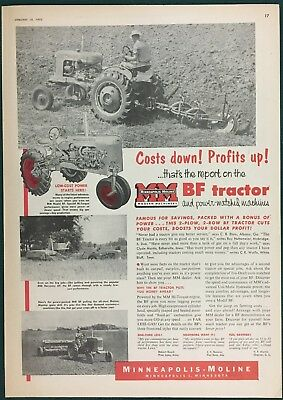 "1953 MINNEAPOLIS-MOLINE BF TRACTOR + Implements. Lg Ad, 10"" x 14"""