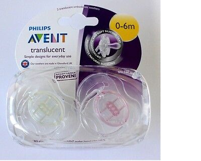 Philips Avent SCF170/18 2-Pack Translucent Orthodontic Soother 0-6m - Clear/Pink