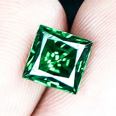 2.88 Cts 6Mm Vs+ Princess Untreat Intense Green Tsavorite Garnet Loose Gemstone