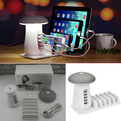 5 Port USB Charging Station Dock Stand Desktop Multi Charger Hub Phone LED Light