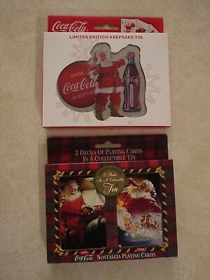 Coca Cola Nostalgia Playing Cards with Collectible Tins (Lot of 2)