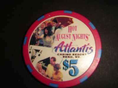 "Atlantis Casino Reno Nv ""hot August Nights 2000""  $5 Casino Chip - Mint"