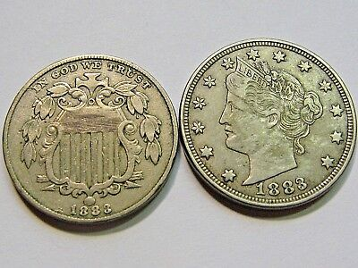 1883 Shield Nickel and 1883 Liberty V Nickel without Cents   EF XF details