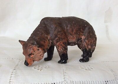Antique/Vintage Cold Painted Metal Realistic Brown Bear Figurine marked AUSTRIA