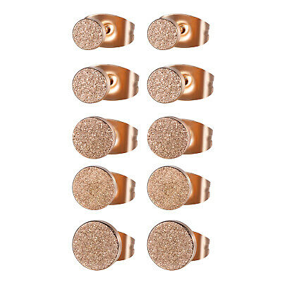 5 Pairs Womens Mens Stainless Steel Rose Gold Cheater Plugs Stud Earrings 4-8mm