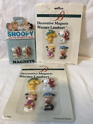 Vtg Peanuts Magnets... NIP... Snoopy, Charlie Brown..Woodstock, Lucy..(3) Packs