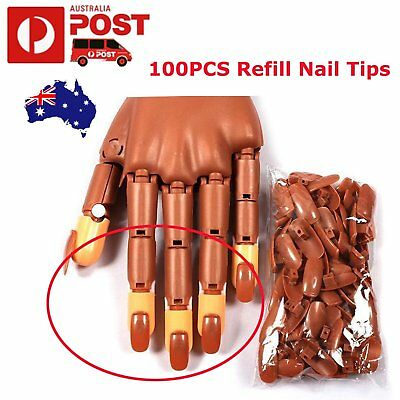 100PCS Refill Nail Tips For Nail Training Practice Flexible Finger Hand