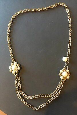 FAB VTG 80s 90s RUNWAY GOLD TONE BYZANTINE ETRUSCAN PEARL TIERED CHAIN LINK BELT