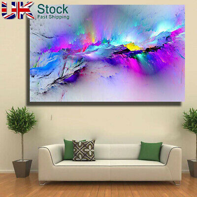 Modern multicoloured blue Canvas Wall Art Abstract Picture Large Print Framed