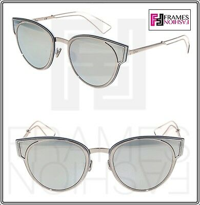 8a813ca96 CHRISTIAN DIOR SCULPT Palladium Silver Mirrored Cat Eye Metal Sunglasses  Women