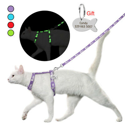Cat Walking Harness & Leash Reflective Puppy Nylon Harness & Personalized Tag